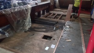 The raised floor after pew removal