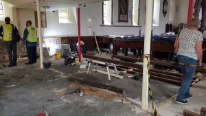 Beginning to repair the flooring
